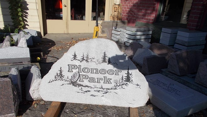 Larry an Sheryl Nims, owners of Ida-Stone Memorials in Kamiah, Idaho, gifted stone signs to Stayton for Pioneer Park.