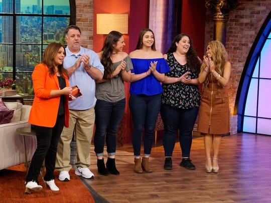 "Left to right, Rachael Ray, Anthony Errico, Natalia Errico, Gianna Erico, Antonia Errico and Mally Roncal on ""Rachel Ray."""