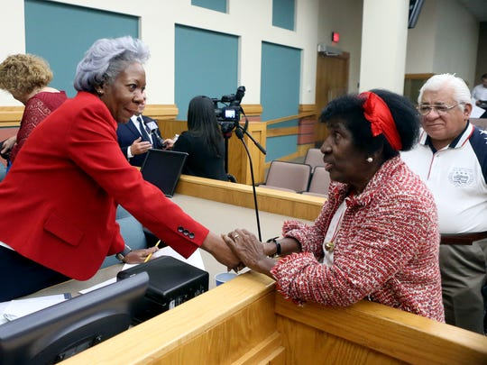 City Manager Margie C. Rose talks to local activist Gloria Scott before a City Council meeting Tuesday, Dec. 13, 2016, at City Hall in Corpus Christi. Rose's appointment to City Manager was celebrated by civic, minority and community leaders.