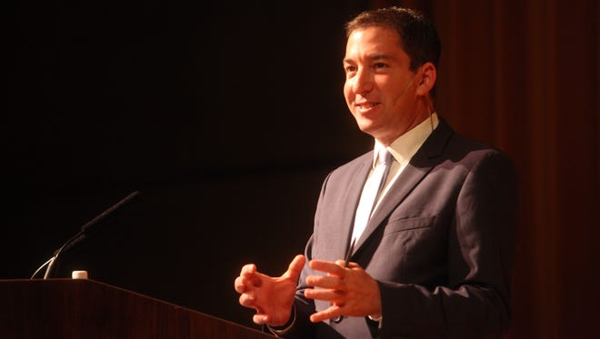 Glenn Greenwald, American journalist based in Brazil, speaks at The Annenberg Center for Health Sciences in Rancho Mirage on March 22, 2016.