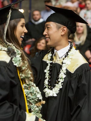 Desert Hills High School commemorates the graduation of their 2018 class at the Burns Arena Wednesday, May 23, 2018.
