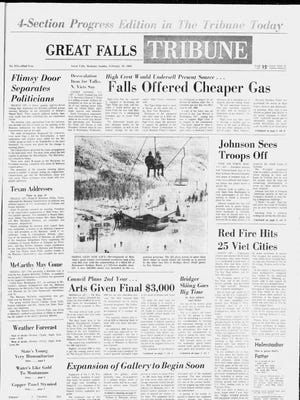 Front page of the Great Falls Tribune on Sunday, Feb. 18, 1968.