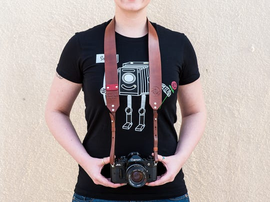 Handmade leather camera strap by Click Gear Clothing LTD.