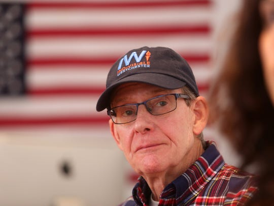 Bruce Campbell of Sleepy Hollow, a member of the Indivisible Westchester steering committee, attends a meeting Jan. 30, 2018 in Larchmont. The group of progressive activists began to take action after the Women's March in 2017.