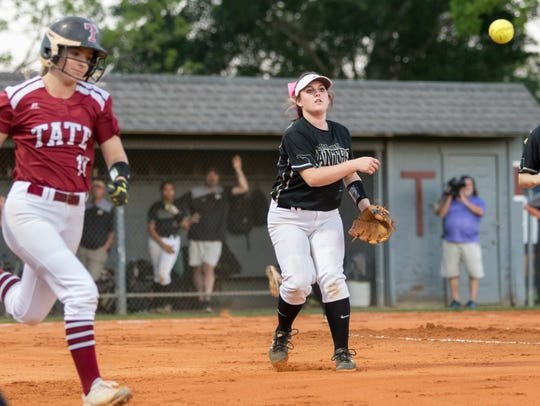 Pitcher Alyssa Hudson (18) tosses to first for an out