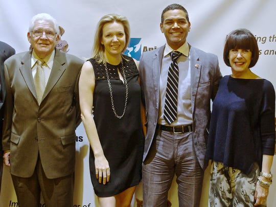 From left: Fred Saunders, CEO of Animal Samaritans; Nyla Patzner and Steve Sanchez, event co-chairs; Susan Stein, fashion show director and producer