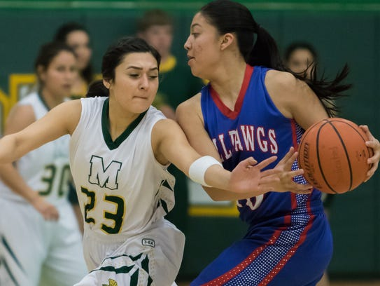 Mayfield's Ashley Alvarado steals the ball from Las