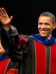 President Barack Obama arrives at ASU's commencement