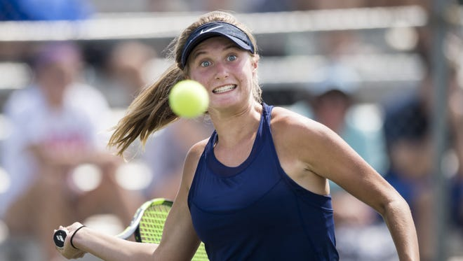 FILE – Providence High School's no. 1 singles player, Halli Trinkle, during the championship round of the 43rd Annual Girls' Tennis Team State Finals, Saturday, June 3, 2017, at North Central High School in Indianapolis.