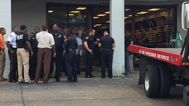 A truck crashed into a store in Hazlehurst, Miss. Wednesday.