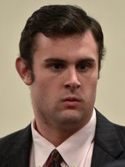 Daniel Barry, 21, of Dover, Massachusetts, appears in Vermont Superior Court in Burlington on Thursday to answer charges related to an incident that occurred on Saint Michael's College campus in October.