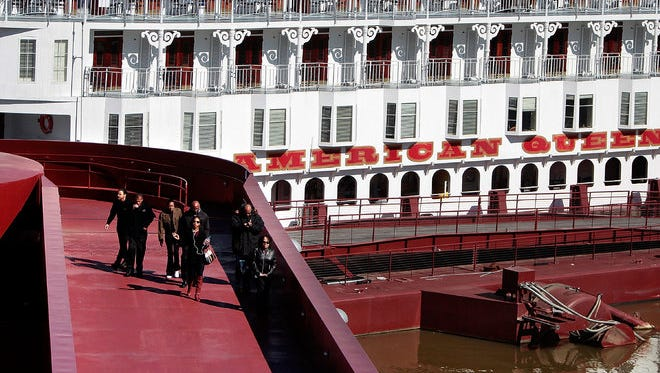 Passengers departed the American Queen in March for an excursion into Downtown Memphis. The cruise boat was docked at Beale Street Landing.