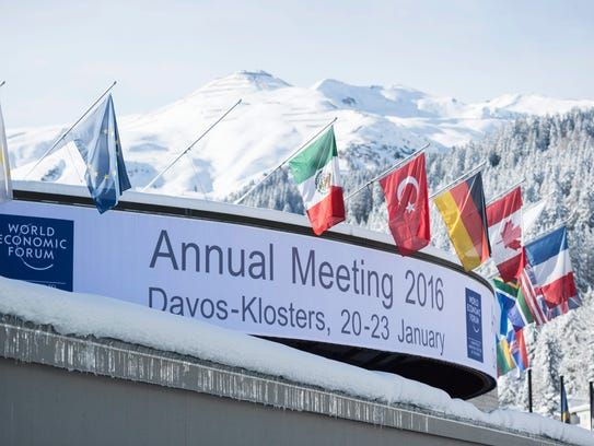 An exterior view of the conference center, in Davos,