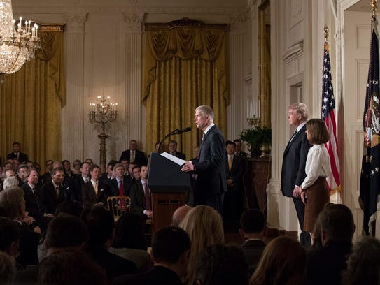 Neil Gorsuch speaks in the East Room of the White House