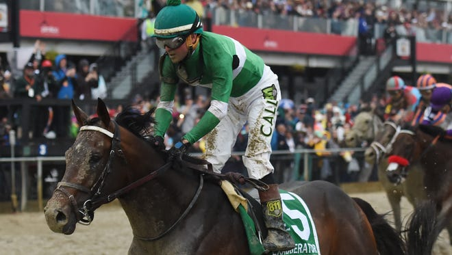 Kent Desormeaux aboard Exaggerator after winning Saturday's Preakness Stakes