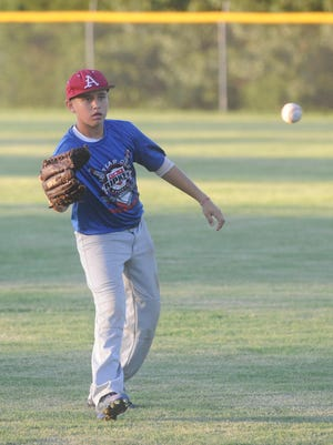 Jim Strider of the Mountain Home Blue Devils plays catch before a recent practice at Clysta Willett Park.