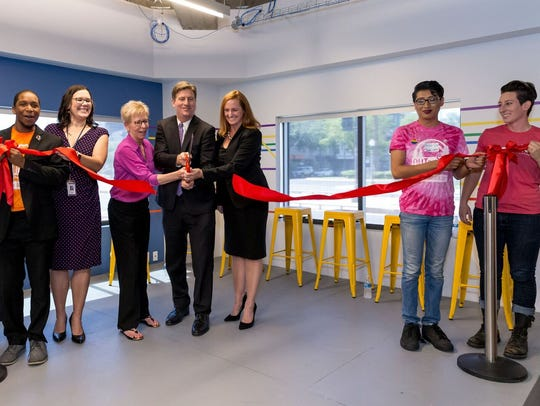 The ribbon-cutting ceremony at one.n.ten LGBT youth