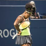 Serena Williams of the USA reacts in her semifinal match against Belinda Bencic of Switzerland (not pictured) during the Rogers Cup tennis tournament at the Aviva Centre.
