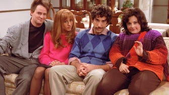 "NBC102 11/3/98  FRIENDS -- ""The One With All The Thanksgivings"" -- TELECASTS: Thurs., Nov. 19 (8-8:30 p.m. ET) -- PICTURED (l-r):  Matthew Perry, Jennifer Aniston, David Schwimmer, Courteney Cox -- THANKS - GIVING FOR THE MEMORIES - As the group of friends celebrate another Thanksgiving  together, Chandler's (Perry) early childhood traumatic memory becomes the catalyst for everyone's worst Thanksgiving memory.  Monica (Cox) recalls her weight struggle and victory; Rachel (Aniston) remembers her budding love life and Ross (Schwimmer) helps Chandler (Perry) flashback to their  bachelor adventures.  Joey (Matt Le Blanc, not pictured) fondly recalls bringing Chandler out of his holiday funk and Phoebe (Lisa Kudrow, not  pictured) goes way back to recall her violent Thanksgiving memories. -- NBC Photo: Danny Feld ORG XMIT:  NBC102"