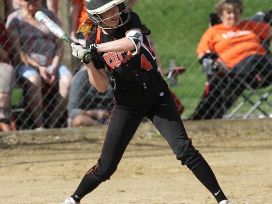 Lucas' Erica Westfield readies herself at bat during a home game against Norwalk St. Paul on Thursday.