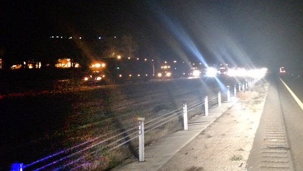 Traffic on I-20 westbound is backed up for miles in this photo taken overnight.
