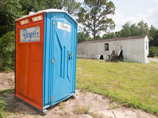 A portable toilet has been donated and available for