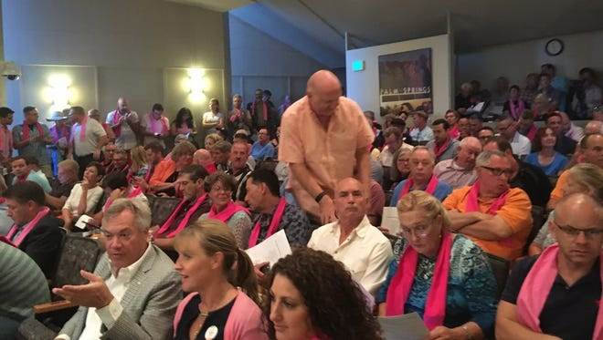 A large crowd fills Palm Springs City Hall on Oct. 26 for a special City Council meeting to discuss vacation rentals. The Desert Sun Editorial Board urges Palm Springs residents to reject a petition drive that would scuttle the new short-term rental ordinance and instead give it a chance to work.