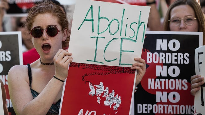 Activists march and rally against Immigration and Customs Enforcement and the Trump administration's immigration policies, near the ICE offices in Federal Plaza, June 29, 2018 in New York City.