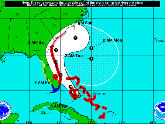 Hurricane Matthew's projected track at 5 a.m. Thursday,