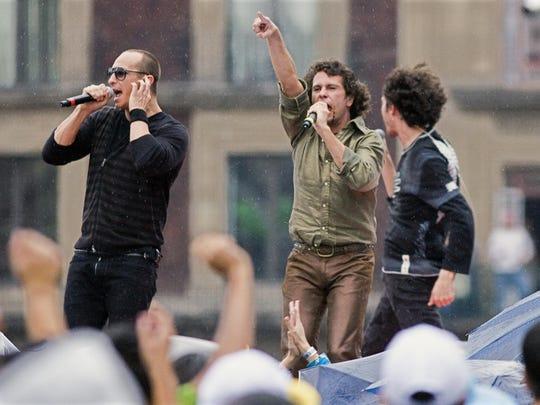 Timbiriche members Erik Rubin (from left), Diego Shoening