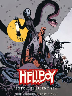 """Cover to """"Hellboy: Into the Silent Sea."""" Art by Mike Mignola."""