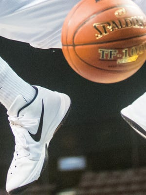 Nike shoes sported by UMES forward Derrico Peck during the 2016 MEAC tournament in Norfolk, Virginia.