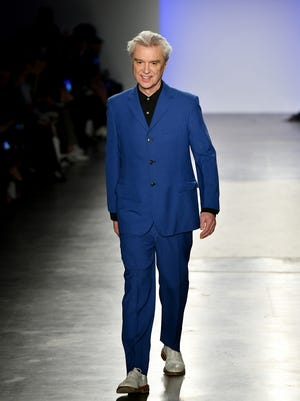 David Byrne walks the runway of the 4th annual Blue Jacket Fashion Show, held in partnership with Janssen Oncology to raise awareness for prostate cancer on Feb. 5 in New York City.