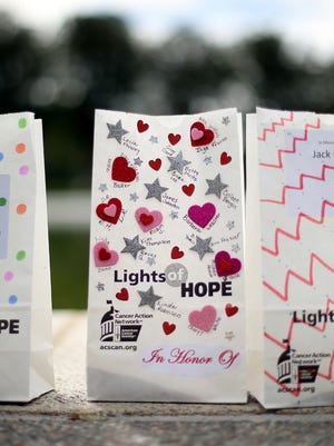 An example of luminary bags decorated in honor of a people who have struggled with cancer.