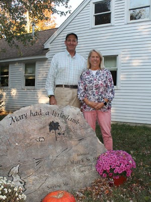 Rick and Diane Melone at the Sawyer Homestead, the rebuilt home of Mary Sawyer just down the road from Clearview Farm, which the couple ran for 30 years.