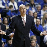 LEXINGTON, KY - JANUARY 6: Head coach Andy Kennedy of the Mississippi Rebels reacts to a call in the second half of the game against the Kentucky Wildcats at Rupp Arena on January 6, 2015 in Lexington, Kentucky. Kentucky defeated Mississippi 89-86 in overtime. (Photo by Joe Robbins/Getty Images)