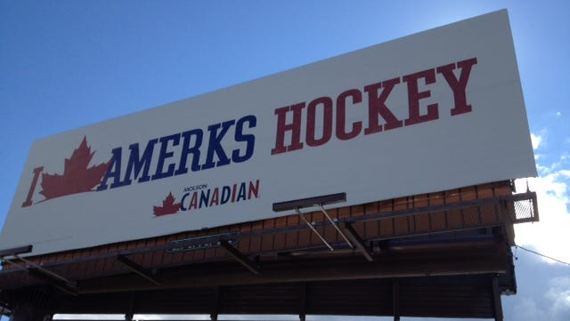 One of three billboards purchased by MillerCoors for the I Love Amerks Hockey ad campaign.