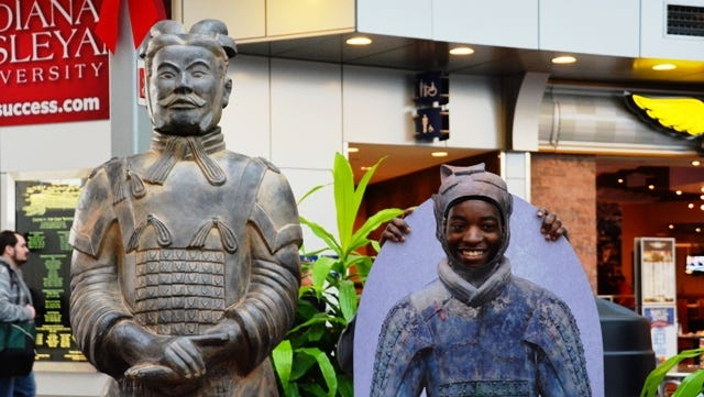 A life-size replica of a terra cotta warrior has taken up residence at Indianapolis International Airport.