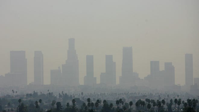 A view of air pollution over downtown Los Angeles on Sept. 20, 2006. Los Angeles had the nation's worst ozone air pollution, according to a new report released by the American Lung Association.