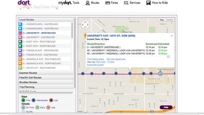A screenshot of the DART Real-Time Map feature shows how to track buses using GPS data for more accurate estimates of arrival and departure times.