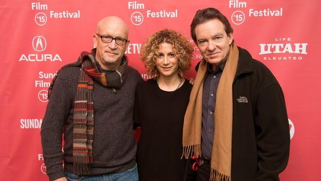 """FILE - In this Jan. 25, 2015 file photo, director Alex Gibney, left, Sara Bernstein, Senior Vice President of Programming for HBO Documentaries, and author/producer Lawrence Wright, right, attend the premiere of """"Going Clear: Scientology and the Prison of Belief"""" during the 2015 Sundance Film Festival in Park City, Utah. The documentary has been seen by more than 5.5 million people since its debut two weeks ago. It is likely to wind up being second only to a 2013 movie on Beyonce as the premium cable network's most-watched documentary of the past decade, HBO said Monday, April 13, 2015. (Photo by Arthur Mola/Invision/AP, File)"""
