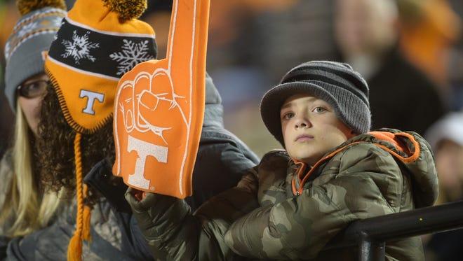 A Vols fans watches warmups before the game between Vanderbilt and Tennessee at Vanderbilt Stadium Saturday, Nov. 26, 2016, in Nashville, Tenn.