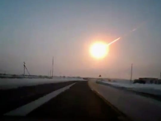 A meteor streaked across the sky of Russia's Ural Mountains