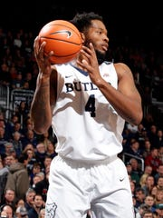 Butler Bulldogs forward Tyler Wideman (4) grabs a rebound against the Utah Utes during the first half at Hinkle Fieldhouse.