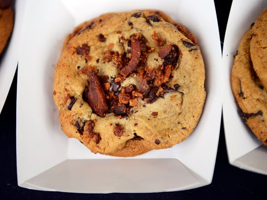 Bacon baked chocolate chip cookies are seen at Capers