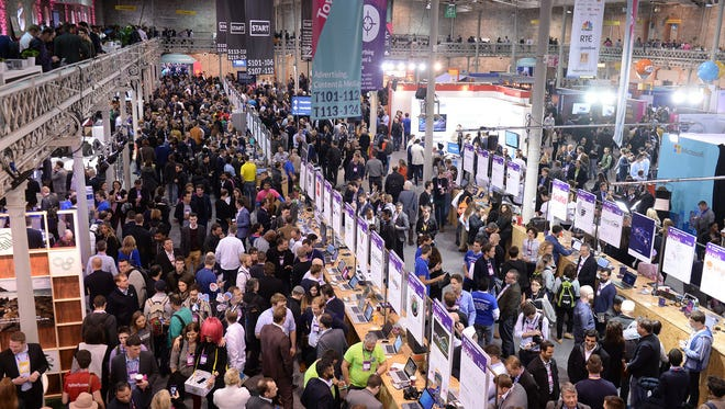 A view of the start-up area at Dublin's Web Summit.