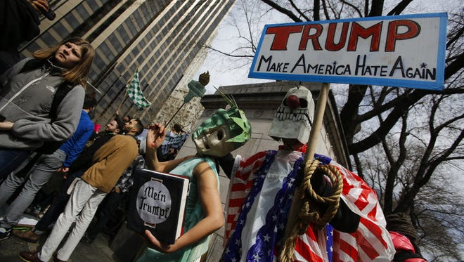 A demonstration in New York on March 19, 2016.