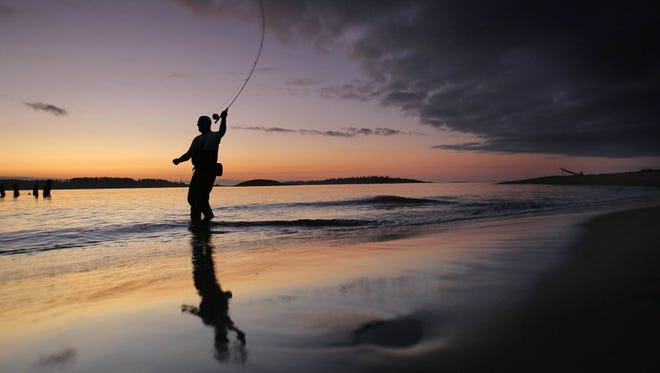 Surf fishing at the shore.