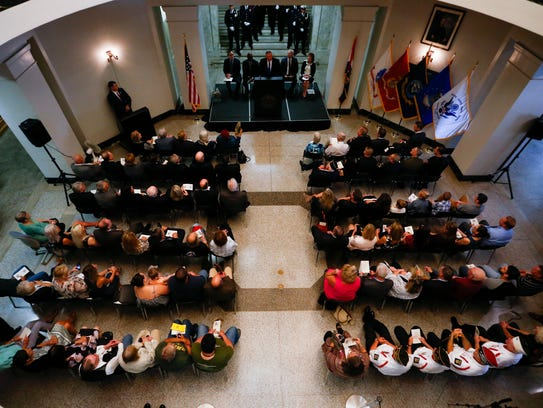 A dedication ceremony for the veterans court was held