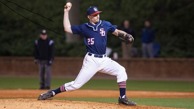 Former Roberson baseball standout Alex Ledford is now a junior pitcher for Samford.